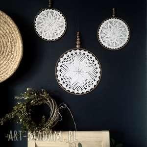 prezent na święta, 3 x dekoracja ścienna, łapacz, koronka, koło, koła, makrama