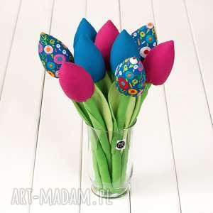 tulipany bawełniany kolorowy bukiet, tulipany, kolorowa