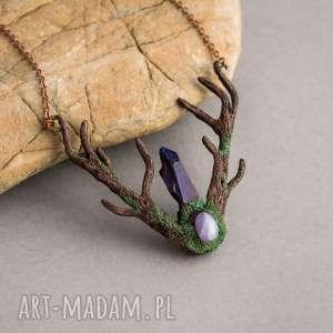 Prezent Leśny naszyjnik z kwarcem tytanowym, naszyjnik, las, czarownica, kwarc
