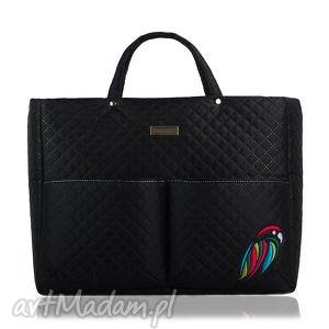 torebka dla mam farbaby papuga 201 czarna, torba, duża, dlamam, podróżna,