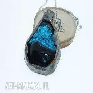 wisiorki turkusowy wisior-n72, wisior, metaloplastyka, unikatowa biżuteria