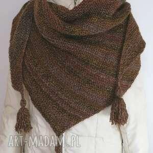 chustki i apaszki trójkątna chusta w cieniowanych brązach, chusta, brązowy
