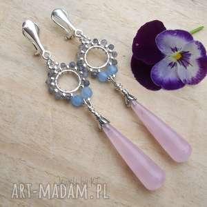 długie krople kwarcu - klipsy, srebrne romantyczna biżuteria