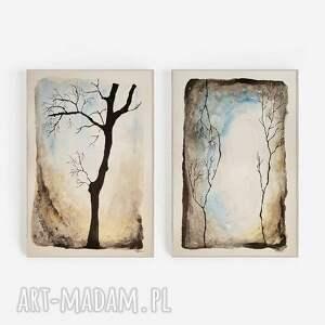 drzewa-30/40 cm x 2 akwarele, drzewa, tusz, akwarela
