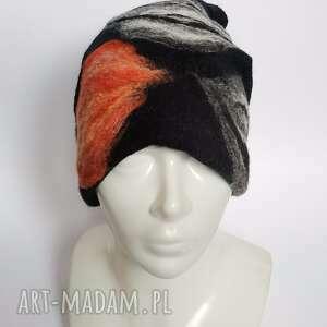 czapka handmade wełniana czesanką filcowane czapki wełniane -czapka