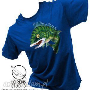 koszulki malowana koszulka sandacz, t shirt, męski, kobaltowy, ryba, orygialna