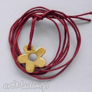 KWIAT bransoletka, mosiądz, sznurek, kwiat