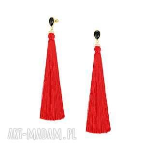 autorskie kolczyki długie kolczyki z czerwonym chwostem - boho