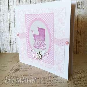 Kartka na Chrzest z okazji narodzin, narodziny, dziewczynka, życzenia, scrapbooking