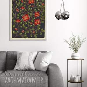 kwiaty a2, plakat, kwiaty, obraz, sztuka, ilustracje, etno