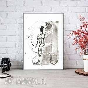 ręcznie wykonane dekoracje malowany, abstrakcja, minimalizm, abstrakcja czarno-biała