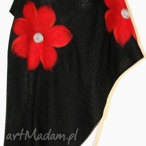 handmade szaliki elegancki, puszysty szal wełną malowany