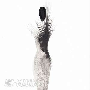 kobieta -mała czarna grafika-czarno-biała, abstrakcja minimalizm plakat