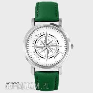 zegarek - kompas follow your heart skórzany, zielony, zegarek, bransoletka