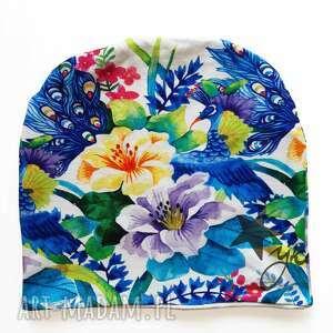 czapki czapka japonia biała, peonie, paw, kolorowa, japonia, pawie pióro
