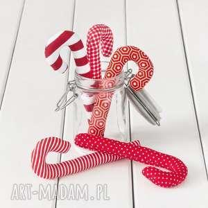 dekoracje ozdoba choinkowa biało-czerwona cukrowa laska - 3 sztuki