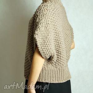 Brązowy, sweter, bolerko, gruby, druty