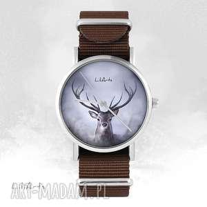 hand made zegarki zegarek - jeleń brązowy, nato, unisex