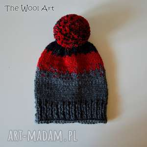 czapka - czapka, na-głowę, ma-drutach, wełniana, jesienna, zimowa