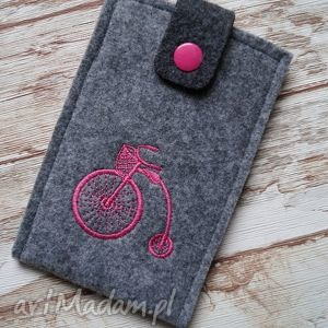 filcowe etui na telefon - retro rower, etui, telefon, smartfon, filcowe, haft, retro