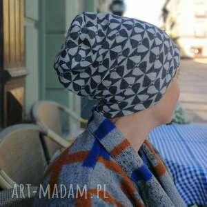 ręcznie robione czapki czapka damska szara dzianina wzory handmade boho-box