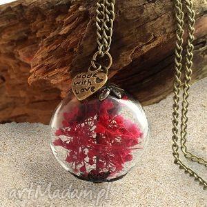 handmade naszyjniki romantyczna czerwień - naszyjnik z prawdziwymi kwiatami
