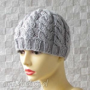 męska czapka zimowa - warkocze, czapka, męska, zima, na drutach, wrkocze