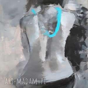 she, obraz-kobieta, turkusowy-obraz, grafika-kobieta, akt-kobieta, duży-obraz