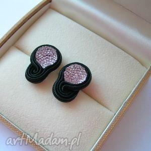 czerń i róż - mini kolczyki sutasz, mini, małe, malutkie, soutache