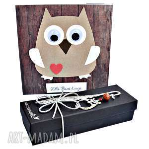ręczne wykonanie scrapbooking kartki elegancki prezent dla nauczyciela - zakładka i kartka