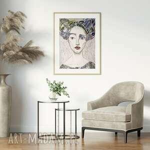 plakat 40x50 cm - blada, plakat, wydruk, twarz, postać, kobieta, portret