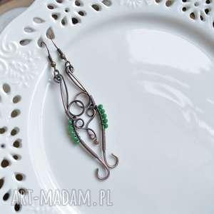 Elficka zieleń - kolczyki z miedzi pracownia z-miedzi, długie