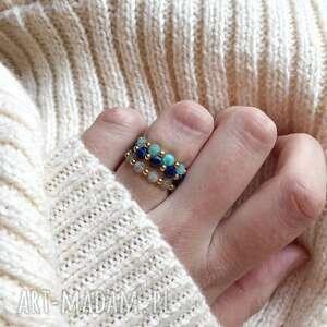 pierścionek - płaskie kamienie, pierścionek, kamienie