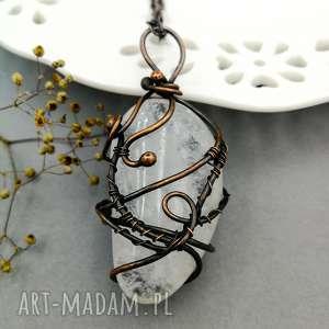 kryształ górski w miedzi - wisior stylu boho, kryształ, wire wrapping