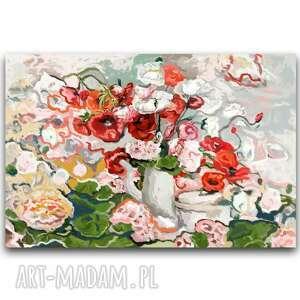 obraz na płótnie maki i pelargonie 90 x 60, maki, stylowe, z kwiatami, kwiaty