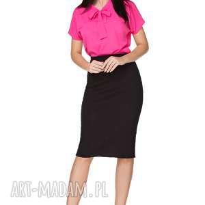bluzki elegancka bluzka z kokardą t223, ciemnoróżowa, bluzka, elegancka, szyfon