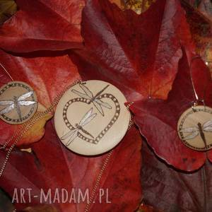 zakochane ważki - komplet biżuterii drewnianej - miłość