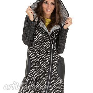 płaszcz z pikowanymi rękawami rozmiar 46 - płaszcz, kaptur, jesienny