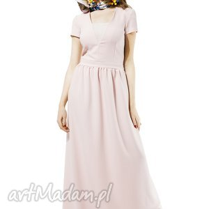 prezent na święta, pudrowa suknia amore, suknia, pudrowa, dluga, balowa