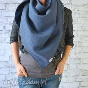 chusta xxl ciemny jeans, bawełna, dzianina, wiosna, eko