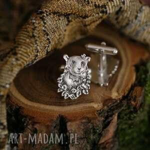 ręcznie wykonane spinki do mankietów srebrne z niedźwiedziami
