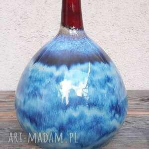 ceramika wazon błękitno - czerwony, wazon, ceramika, rękodzieło, glina
