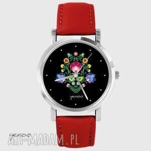 zegarek - folkowy, czarny czerwony, skórzany, zegarek, bransoletka, skórzany