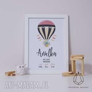 metryczka granatowy balon - metryczka, plakat, obrazek, prezent, chrzest, roczek