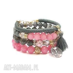 ki ka pracownia pink candy and grey /01-10-19/ - set, jadeity, skóra, rzemień