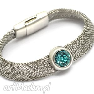 bransoletka magnetoos metaloo cristal 1, stal, przekładka, kryształek, taśma