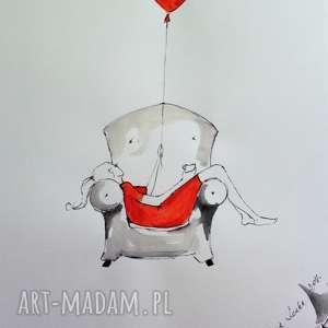 Praca akwarelą i piórkiem FLOW artystki plastyka Adriany Laube, akwarela, rysunek