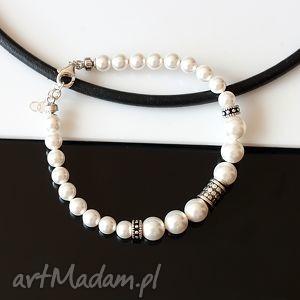 perły swarovskiego bransoletka - perły, swarovski, srebro, bali, ślub
