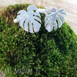 biżuteria srebrne spinki do mankietów monstera liście, monstera