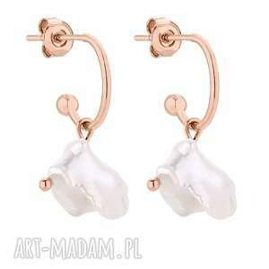 kolczyki z różowego złota z naturalnymi perłami - złote